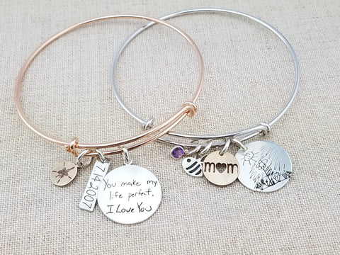 Adjustable Bangles with Actual Handwriting Disc