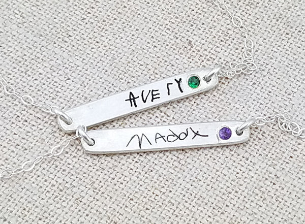 Birthstone Bar Bracelet with Actual Handwriting