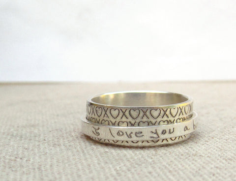 Actual Handwriting Silver Spinner Ring