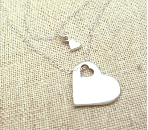 Cutout Heart Mother Daughter Necklace Set