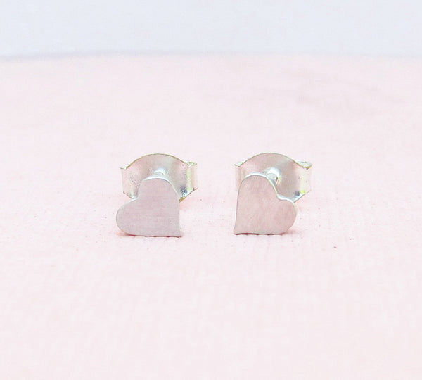 Sterling Silver Heart-Shaped Stud Earrings