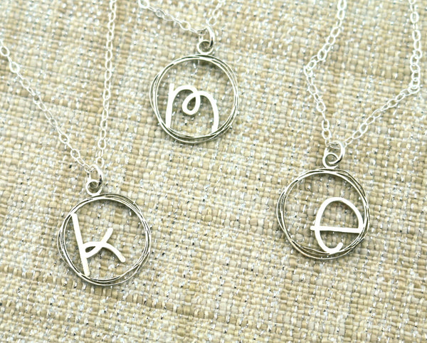 Dainty Circle Initial Necklace