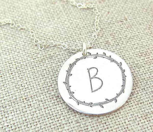 Leaf Wreath Initial Necklace
