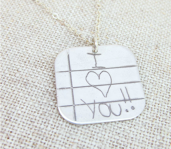 Handwriting Necklace on Lined Paper