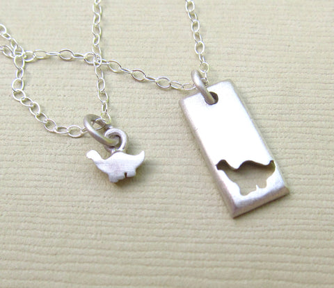 Tiny Dinosaur Mother Daughter Necklace Set