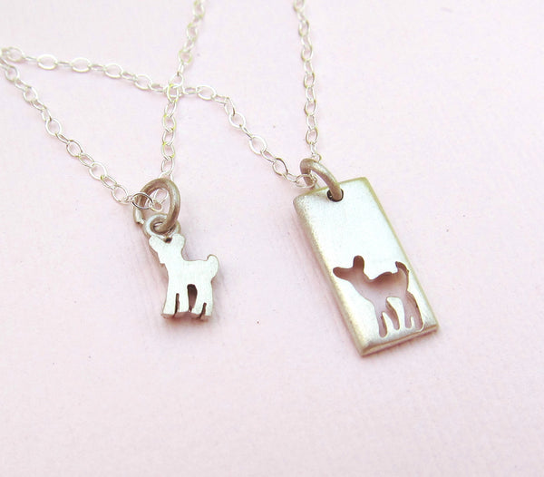 Little Fawn Mother Daughter Necklace Set