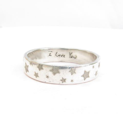 Actual Handwriting Pattern Ring