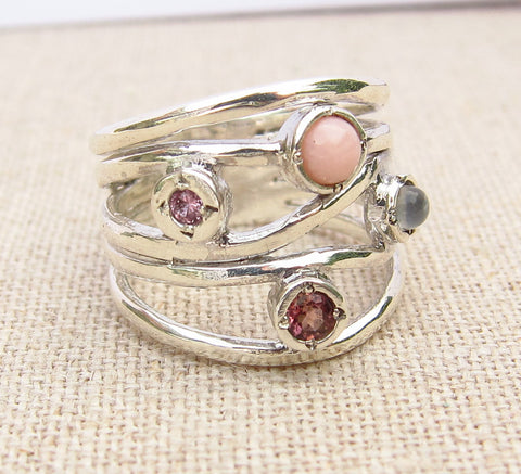 Pink Multistone  Ring
