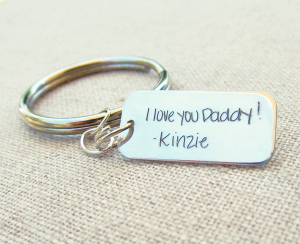 Actual Handwriting Rectangle Keychain