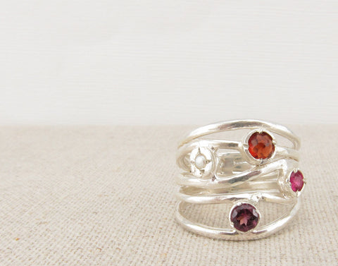 Red Multistone Ring