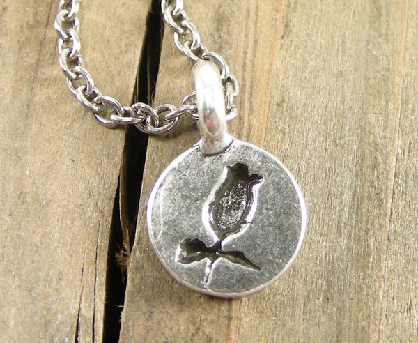 Rose Sillhouette Charm Necklace - Pewter