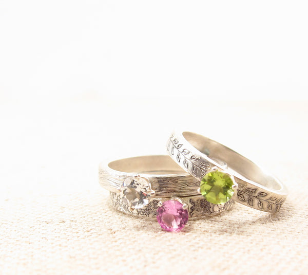 Gemstone Pattern Stacking Ring