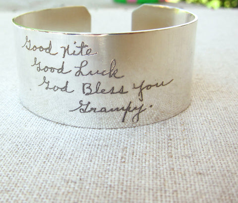 Thick Silver Cuff Bracelet With Actual Handwriting