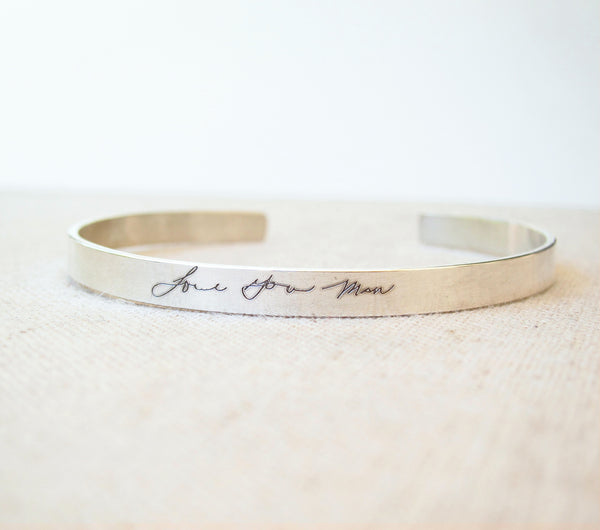 Thin Silver Cuff With Actual Handwriting