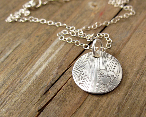 Woodgrain Initial Necklace