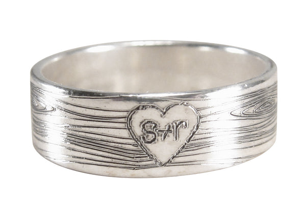 Engraved Wood Heart Ring