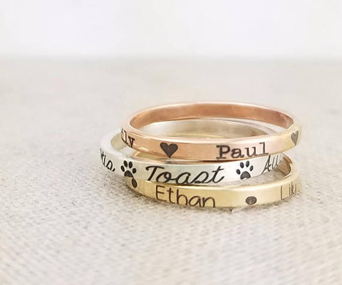 Mixed Metal Name Rings