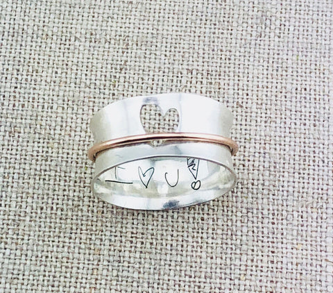 Cutout Heart Spinner Ring