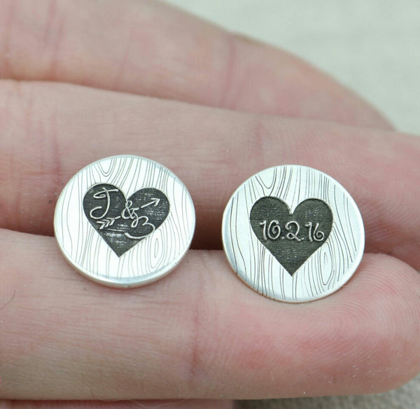 Woodgrain Heart Initial Cufflinks