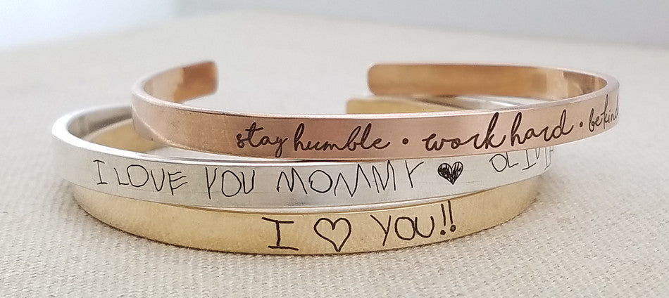 Handwriting Cuff Bracelets