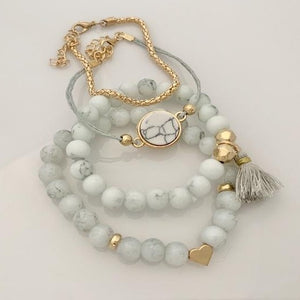 Light gray marble bracelets set
