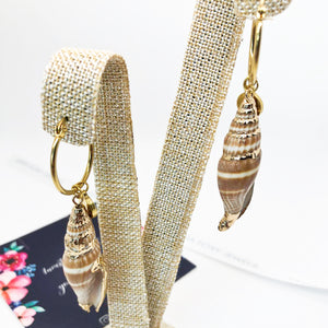 Seashell gold earrings