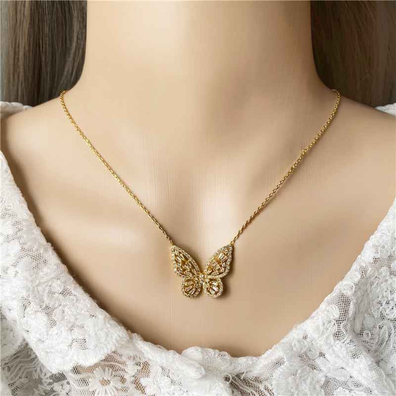 Butterfly Gold Sparkles Necklace