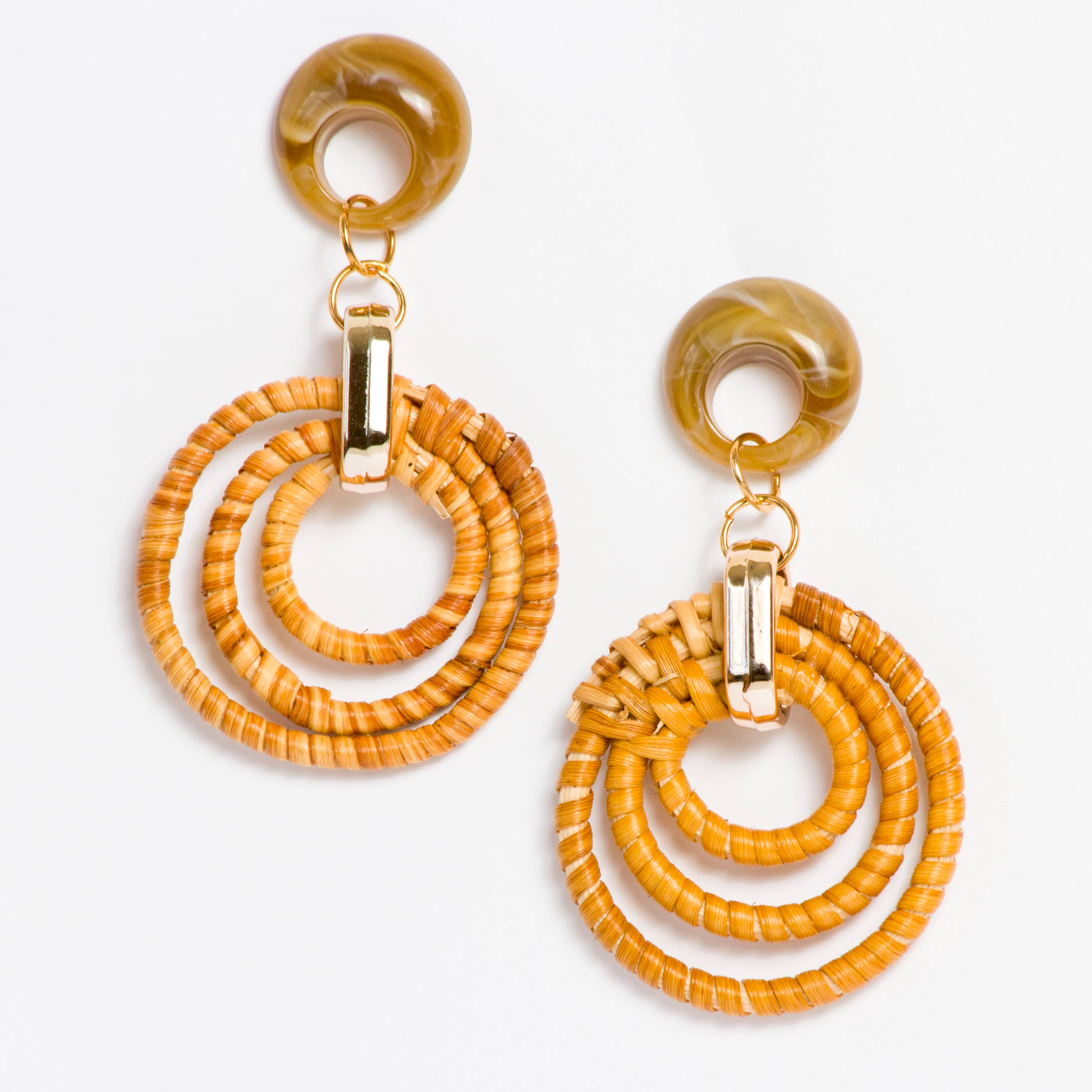 Rattan Brown Earrings