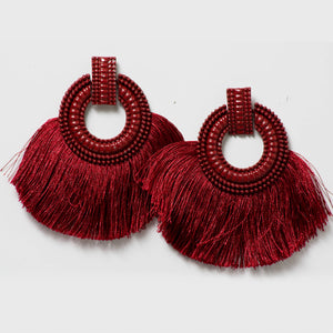 Red Wine Tassel Earrings