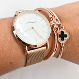 Rose gold & White face watch