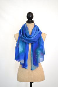 Chiffon Silk Blanket Scarf in Shades of Blue