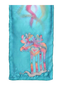 """Macy"" The Moose Silk Scarf (Lagoon Blue)"
