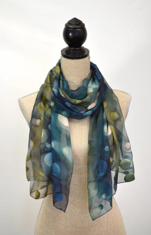 Chiffon Silk Scarf with Dots (Midnight)