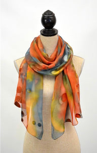 Chiffon with Dots Silk Scarf (Embers)