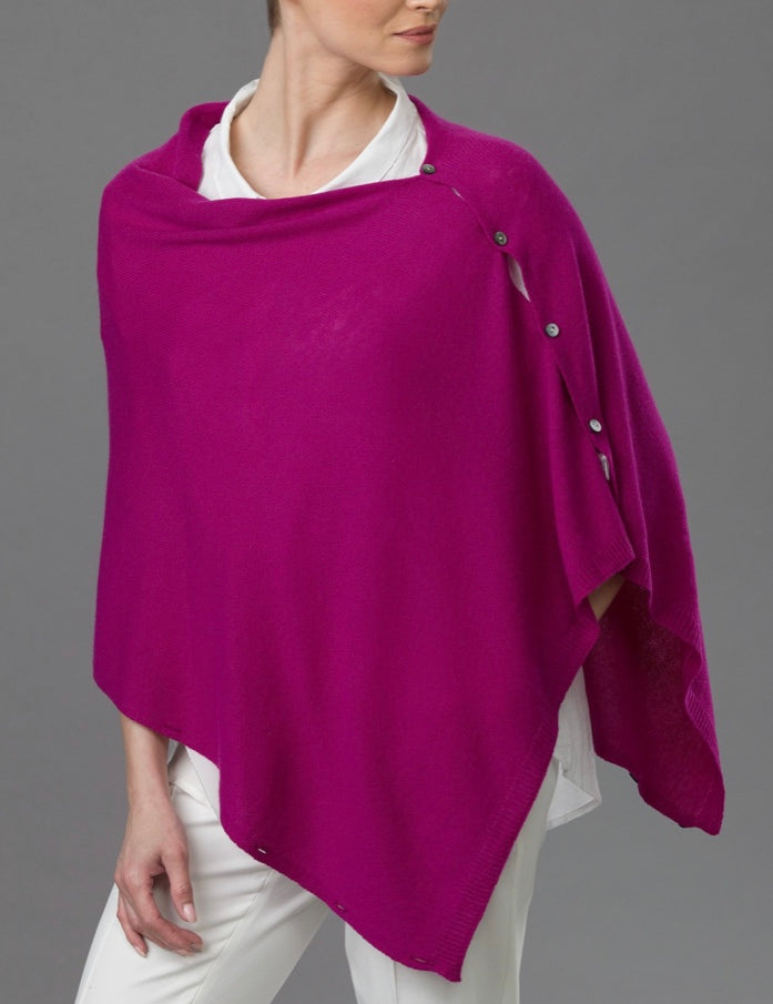 Cashmere Button Poncho (Magenta Pink)