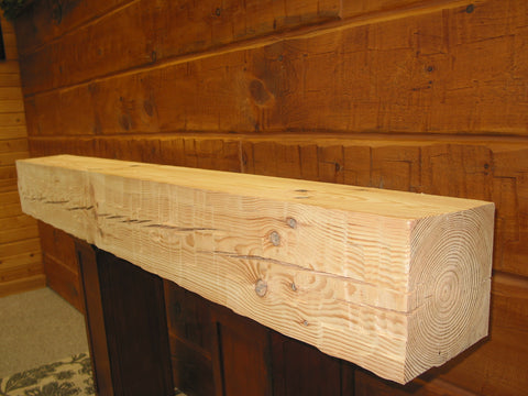 Heavy Timber Fireplace Mantel - Hewn Face