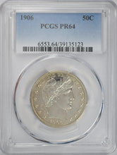 Load image into Gallery viewer, 1906 50C Barber Half Dollar PCGS PR 64