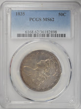 Load image into Gallery viewer, 1835 50C Bust Half PCGS MS 62