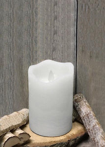 "3""X5"" CANDLE - WHITE RUSTIC FINISH MOVING FLAME LED PILLAR"