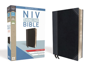 NIV Thinline Bible/Large Print (Comfort Print)-Black/Gray Leathersoft