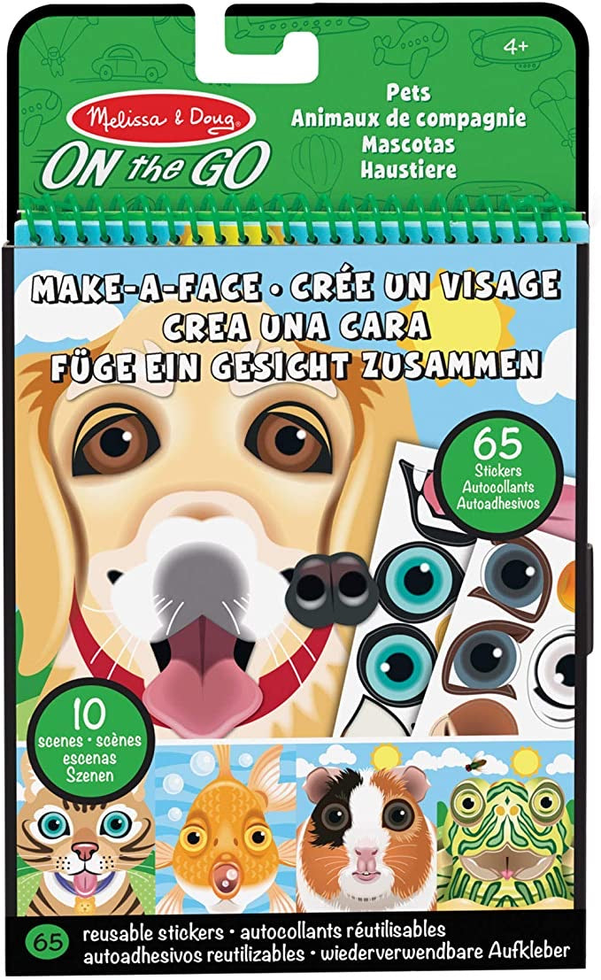 Melissa & Doug On The Go Make-a-Face Reusable Sticker Pad Travel Toy Activity Book – Pet Animals