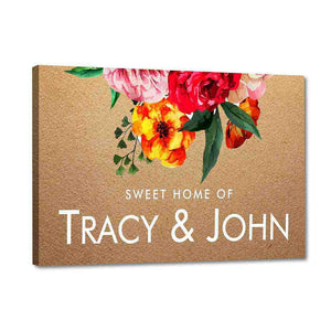 Floral Home Name Plate Door Signs Red Roses