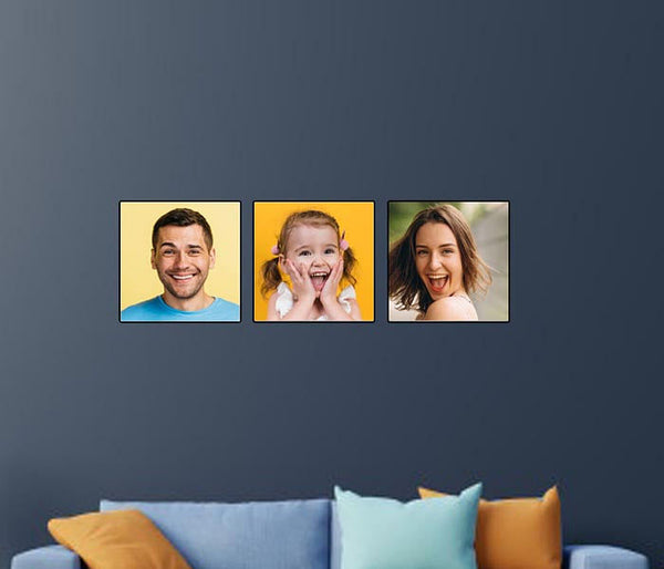 Personalized Modern Wall Art Photo Frame Boards Set Of 3 - Add Your Pictures