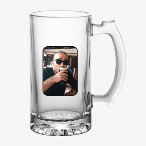 CUSTOMISED PHOTO BEER MUG GLASS - ADD YOUR PIC - Nutcase