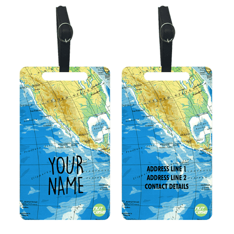 Customized Travel Luggage Tag for Bag - Add your Name - Set of 2