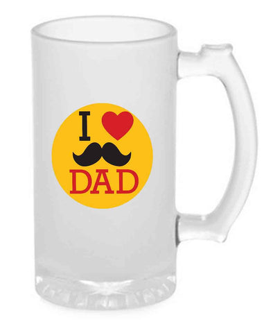 Beer Mug Glass  16 Oz - Father's Day Gift - Love Dad