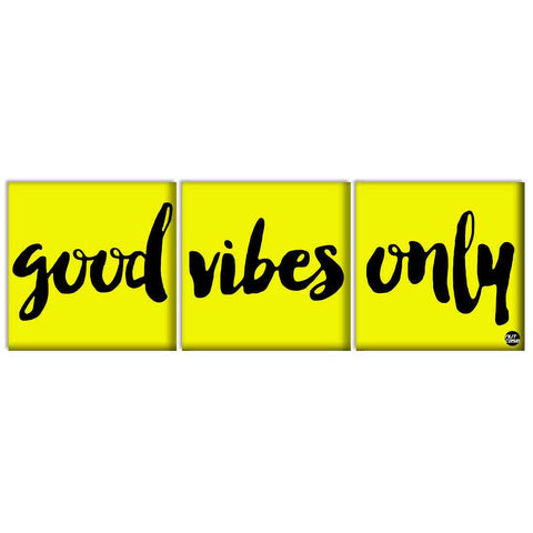 Wall Art Decor Hanging Panels Set Of 3 -Good vibes only yellow
