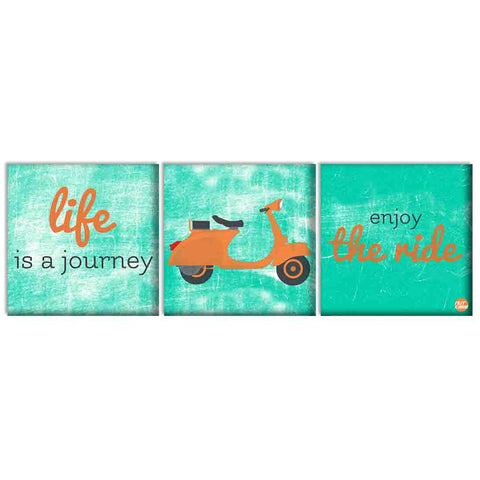Wall Art Decor Hanging Panels Set Of 3 -life is a journey