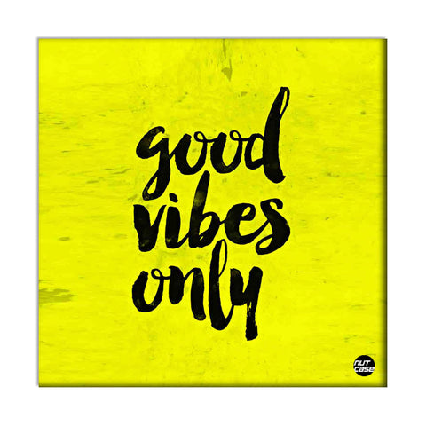 Wall Art Decor Panel For Home - Good Vibes Only Yellow