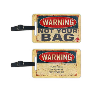 Personalized Cheap Luggage Tag with your name - Warning